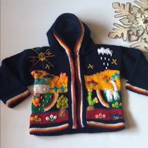 Handmade hooded knitted sweater navy Sz 12-18mos